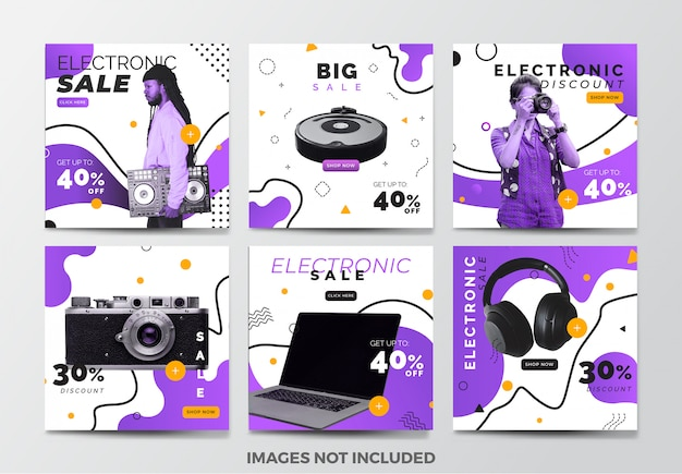Electronic sale social media banner template collection with purple fluid background Premium Vector