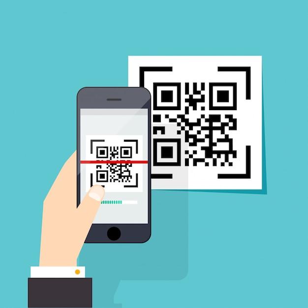 電子スキャン、デジタル技術、バーコード。 Premiumベクター
