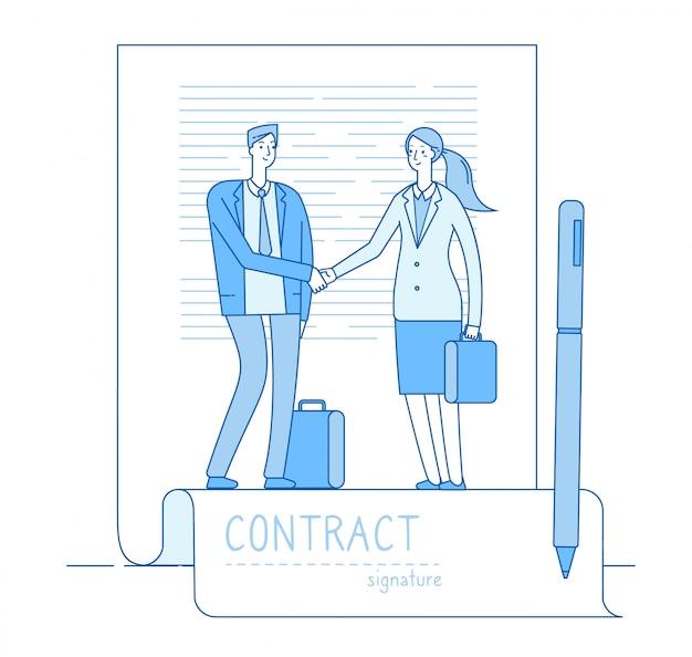 Концепция электронной подписи. бизнесмен адвокат договор встречи рукопожатия. финансовые вложения, умные контракты Premium векторы