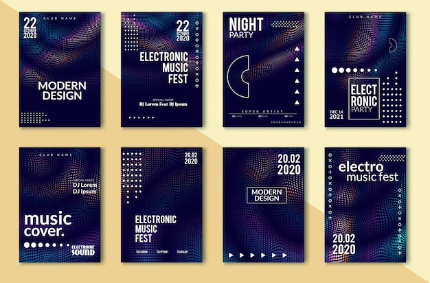 Electronic sound party poster, abstract wave distorted lines Premium Vector