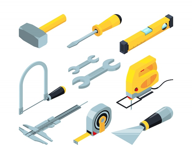 Electronic tools for construction. isometric pictures set Premium Vector