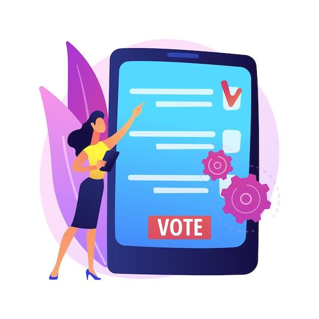 電子投票の抽象的な概念図。電子選挙、オンライン投票、電子投票システム、政府のデジタルテクノロジー、インターネット投票、キャンペーンwebサイト。 無料ベクター