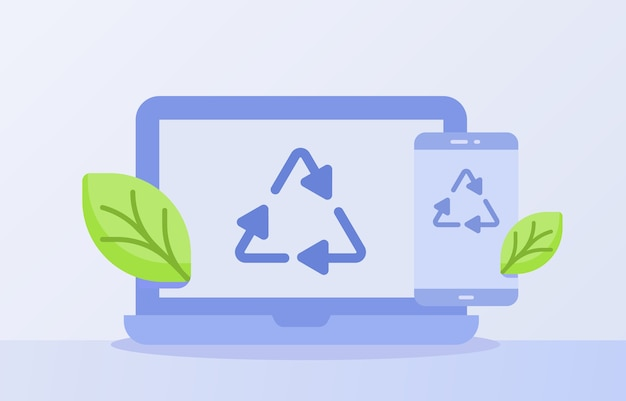 電子廃棄物リサイクルの概念は、ディスプレイラップトップスマートフォン画面の白い孤立した背景にアイコンの三角形をリサイクル Premiumベクター