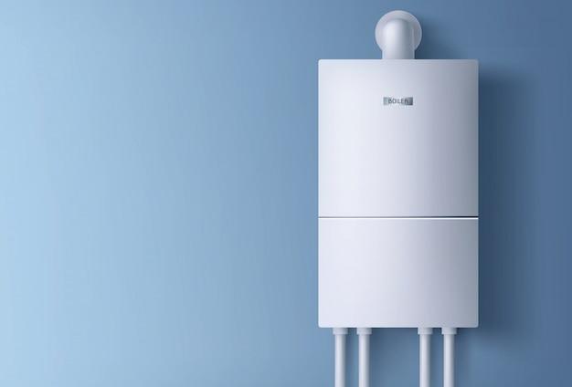 Электронный водонагреватель висит на стене. Бесплатные векторы