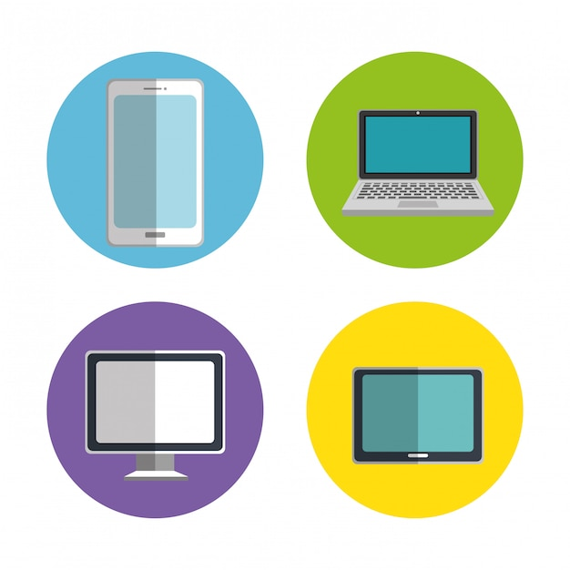 Electronics devices set icons Free Vector