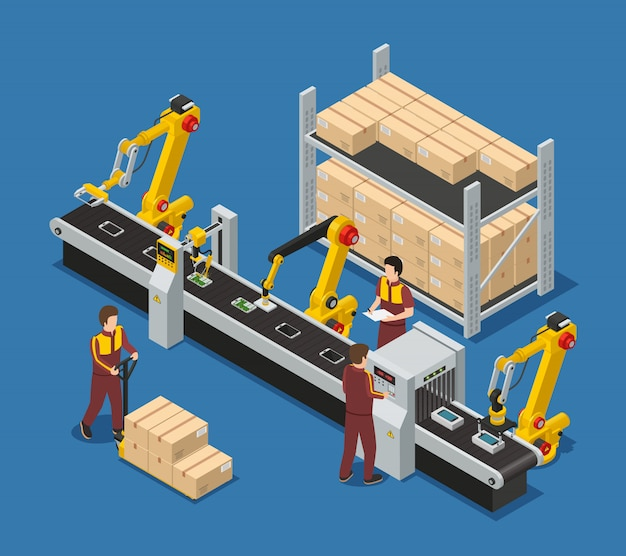 Electronics factory composition with robotic conveyor line of touchscreen phones staff and package boxes Free Vector
