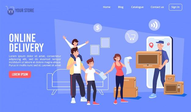 Electronics online delivery service landing page Premium Vector