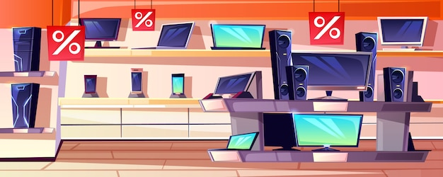 Electronics store illustration of consumer appliances shop department interior in trade mall. Free Vector