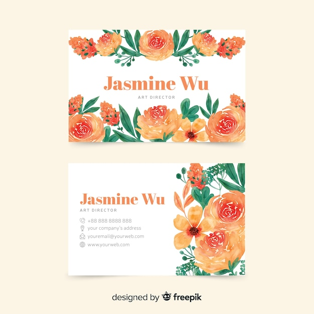 Elegand and floral theme for business card Free Vector