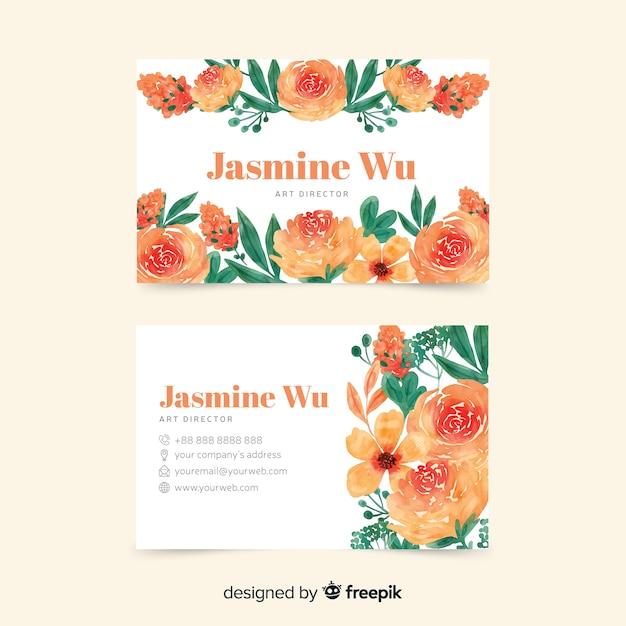 Elegand и цветочная тема для визитки Бесплатные векторы
