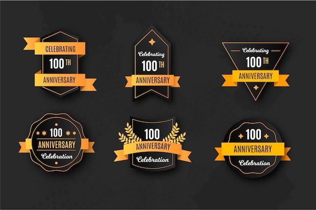 Elegante collezione di badge per il 100 ° anniversario Vettore gratuito