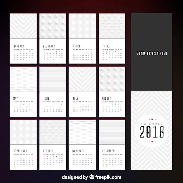 Elegant 2018 minimalist calendar Vector | Free Download