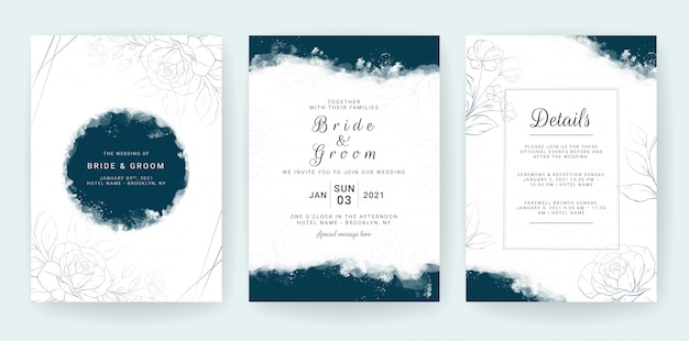 Elegant abstract background. wedding invitation card template set with blue watercolor and floral decoration. flowers border for save the date, Premium Vector