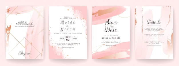 Elegant abstract background. wedding invitation card template set with watercolor splash and gold decoration. brush stroke design Premium Vector