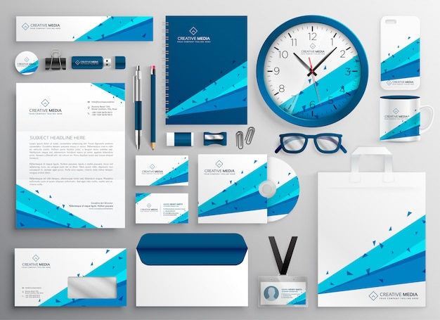 Elegant abstract business stationery collection Free Vector