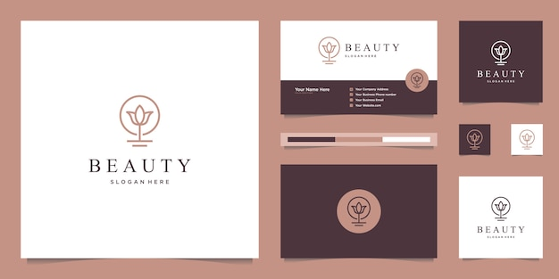 Elegant abstract flowers inspiring beauty, yoga and spa. logo design and business card Premium Vector