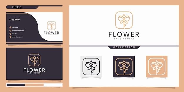 美しさ、ヨガ、スパを刺激するエレガントな抽象的な花。ロゴと名刺 Premiumベクター