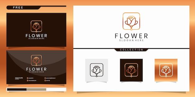 美しさ、ヨガ、スパを刺激するエレガントな抽象的な花。ロゴデザインと名刺 Premiumベクター