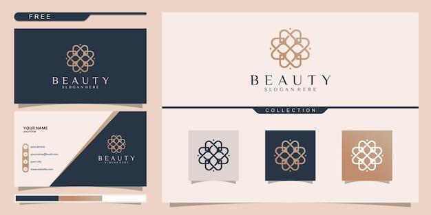 아름다움, 요가 및 스파에 영감을주는 우아한 추상적 인 꽃. 로고 디자인 및 명함 프리미엄 벡터