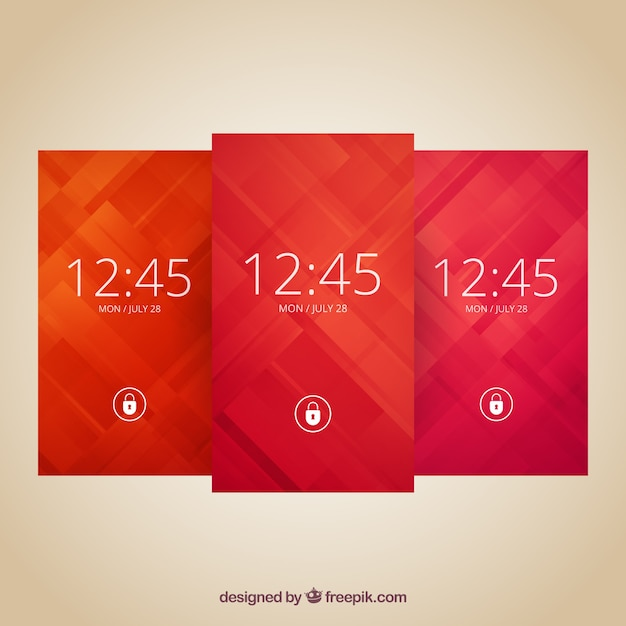 Elegant abstract wallpapers pack for mobile Free Vector