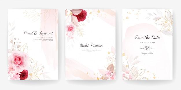 우아한 추상. 결혼식 초대 카드 템플릿 꽃과 금 수채화 장식으로 설정 프리미엄 벡터