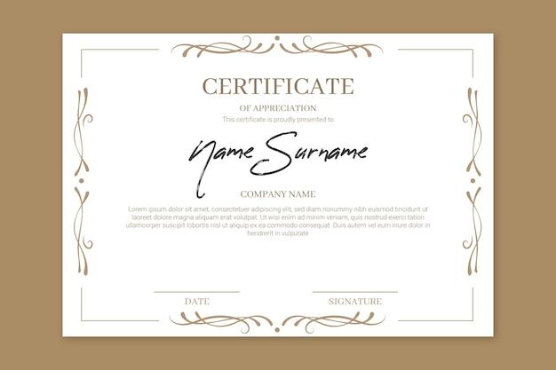 Elegant achievement certificate of appreciation Free Vector