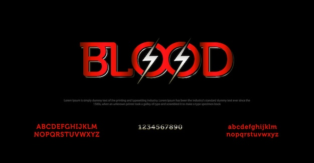 Elegant alphabet font and typography with blood letter Premium Vector