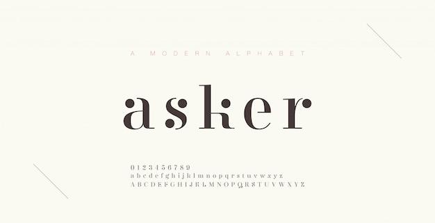 Элегантный шрифт букв алфавита и номер. классическая надпись minimal fashion designs. типография шрифтов обычная прописная и строчная. Premium векторы