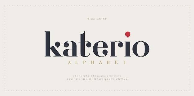 Элегантный шрифт букв алфавита. классический современный минималистичный стиль надписи с засечками Premium векторы