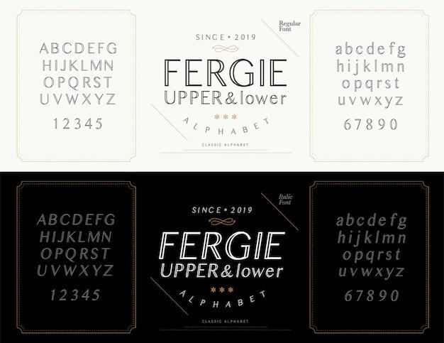 Elegant alphabet letters font. wedding classic Premium Vector