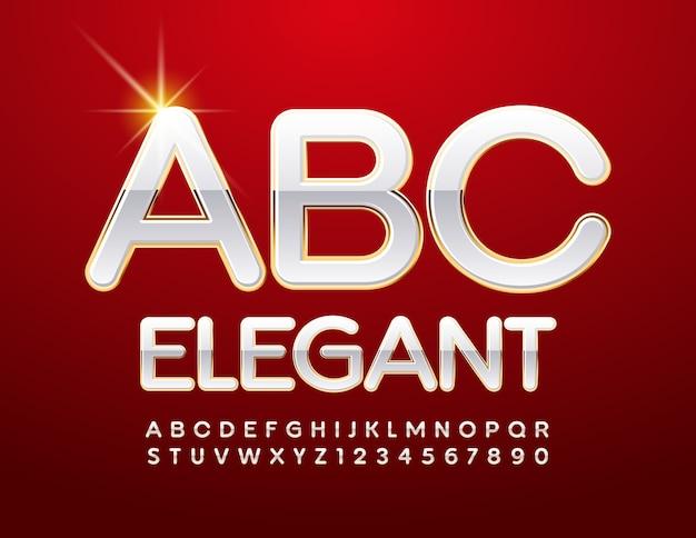 우아한 알파벳. 반짝이는 흰색과 금색 글꼴. 세련된 엘리트 문자와 숫자 세트 프리미엄 벡터