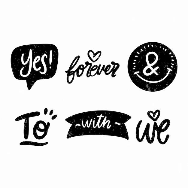 Elegant ampersands and catchwords for wedding set Free Vector
