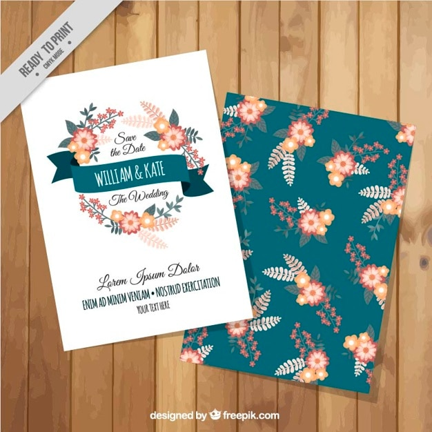 Elegant And Beautiful Wedding Card With Flowers Vector