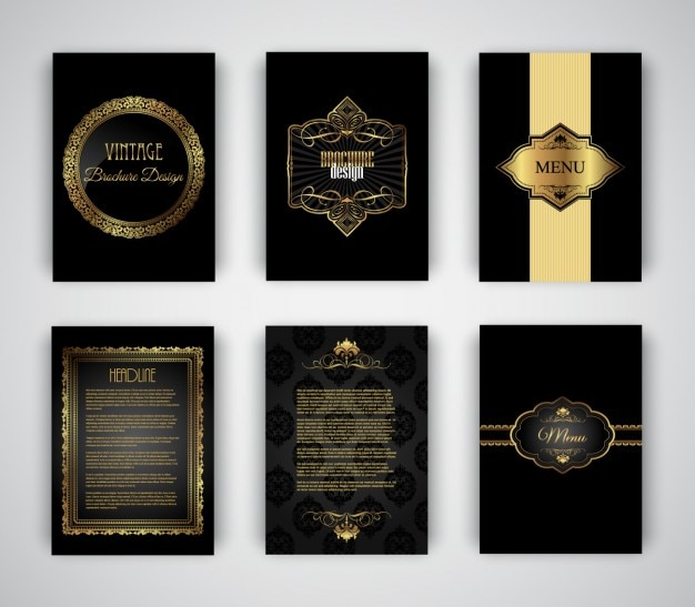 Elegant And Golden Brochures Templates Vector | Free Download