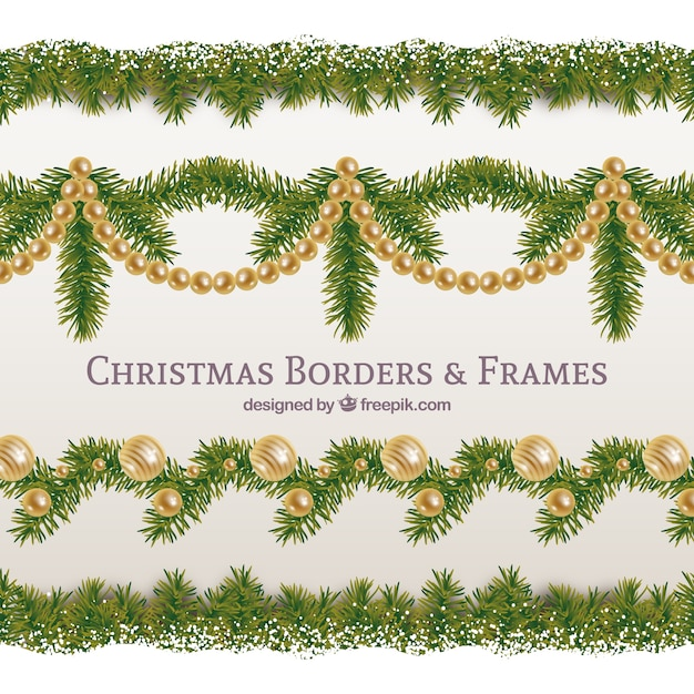 Elegant and golden christmas garland pack Free Vector