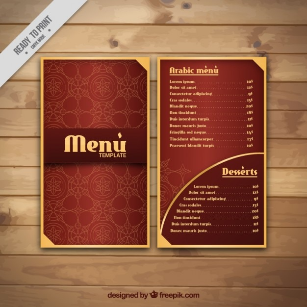 Elegant arabian menu with golden details Free Vector