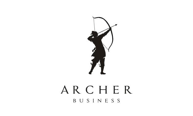 Elegant archer logo design Premium Vector