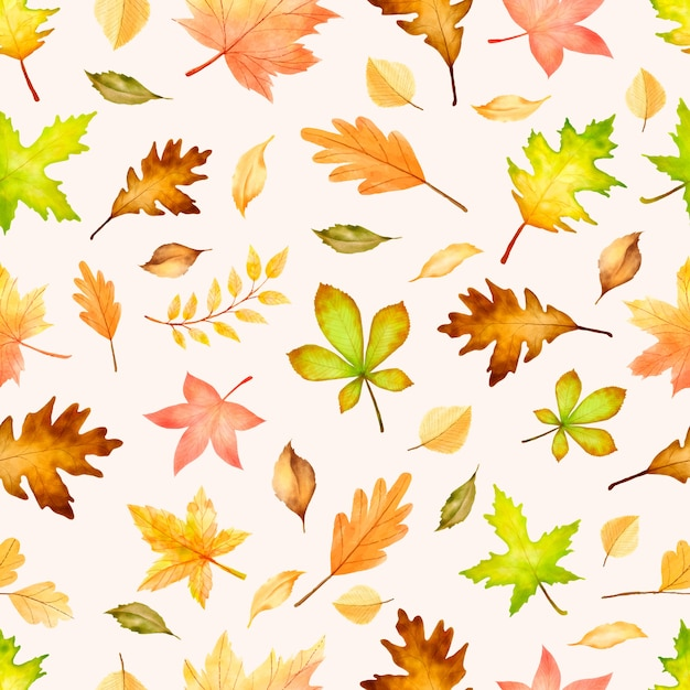 Elegant autumn seamless pattern with different autumn leaves. Free Vector