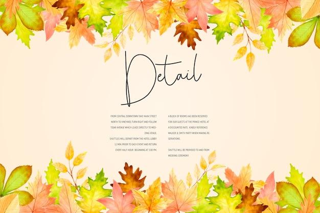 エレガントな秋の結婚式の招待カードテンプレート 無料ベクター
