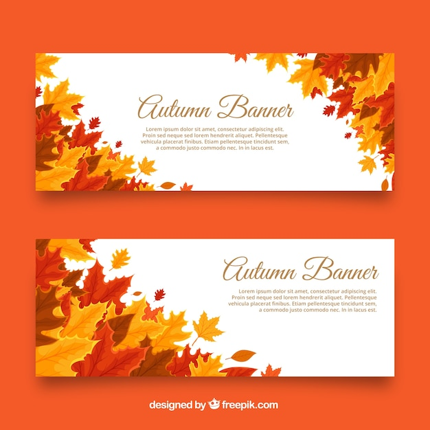 Elegant autumnal banners with leaves