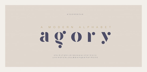 Elegant awesome alphabet letters font and number Premium Vector