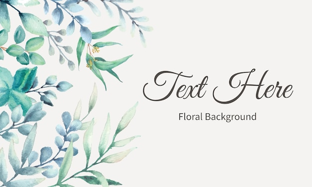 Elegant background design with watercolor leaves Free Vector