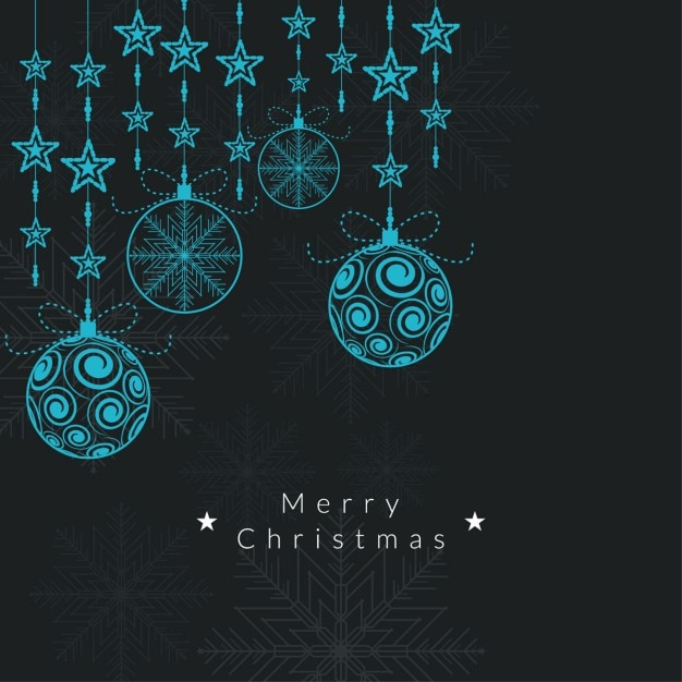 Elegant background of christmas balls and stars Free Vector