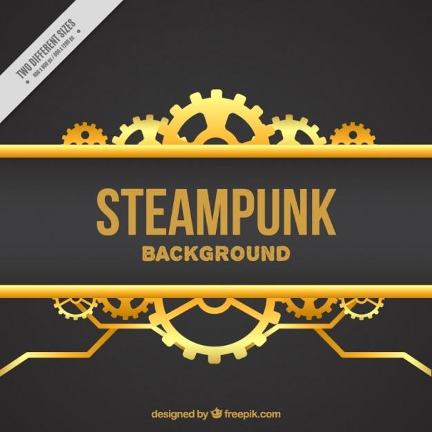 Elegant background of golden gears Free Vector