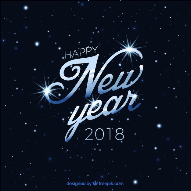 elegant background of happy new year 2018 with stars free vector