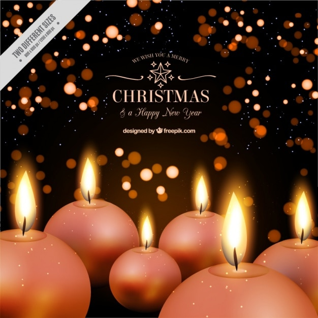 elegant background of round candles for christmas and new year free vector