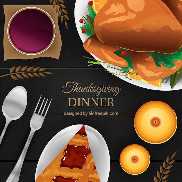 Elegant Background Of Tasty Thanksgiving Dinner Free Vector