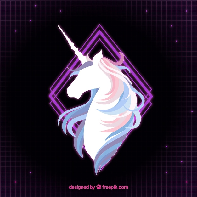 Elegant Background Of Unicorn And Purple Rhombus Vector