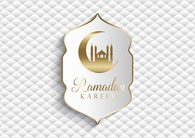 Elegant background for ramadan kareem in white and gold Free Vector