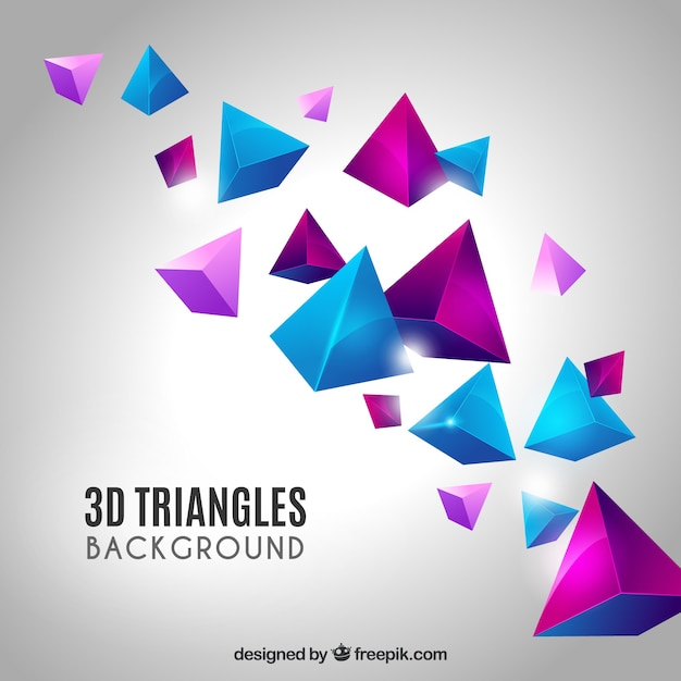 Elegant background with 3d triangles Free Vector